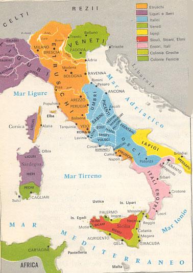 Cartina Dell Italia Al Tempo Degli Etruschi.L Italia Preromana